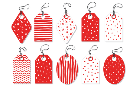 Set Red Vector Tags Isolated On White Background . 矢量图像