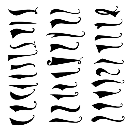 Texting tails. Swoosh and swash vector set. Font tail for baseball and football sport  design. Swish, Swirl  elements.