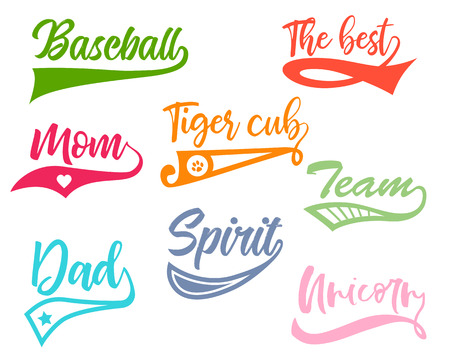 Texting tails. Colored Swoosh and swash vector set. Font tail for baseball and football sport logo design. Swish, Swirl  elements with inscriptions.