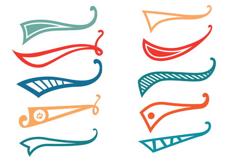 Texting tails. Colored Swoosh and swash vector set. Font tail for baseball and football sport logo design. Swish, Swirl  elements. 矢量图像