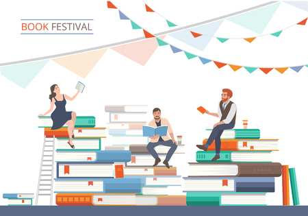 Book festival poster with stacks of  books and people characters. Literature event, bookstore advertising template. Vector illustration in flat style. 矢量图像