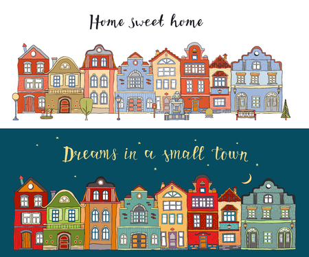 Rows of multicolored doodle small town houses with  inscription home sweet home and dreams in a small town . Vector cards 矢量图像