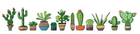 Cozy cacti set. Vector 矢量图像