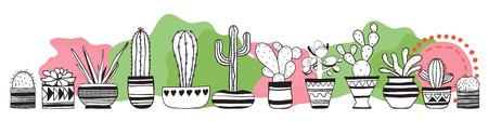 Cacti set . Vector