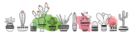 Cacti contour set . Vector