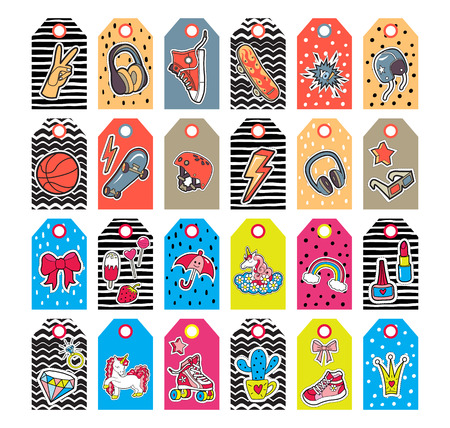 Girl's and boy's tags with patches. Vector set
