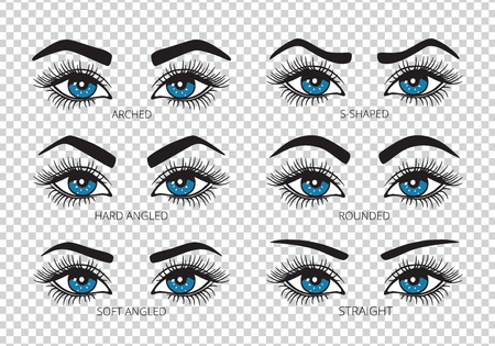 Set of pairs of eyes with eyebrows icons. Different types of eyebrow. Vector
