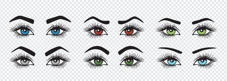 Set of eyebrows with colored eyes shapes. Vector