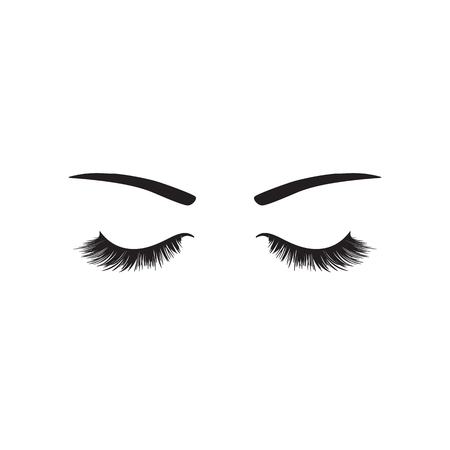 eyelash with eyebrows eye's logo isolated on white Vectores