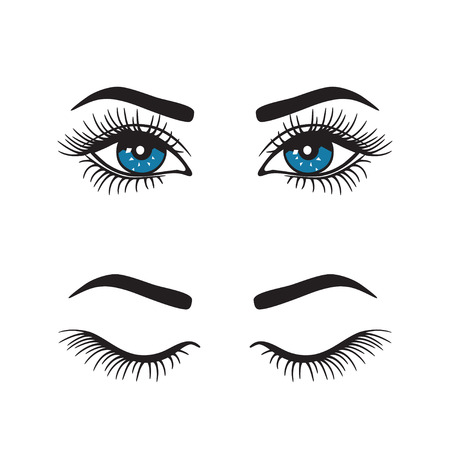 Ensemble de sourcils avec logo pour les yeux. Vecteur.