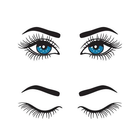 Eyebrows with eyes logo set. Vector.