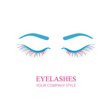 Eyelashes with eyes logo. Vector