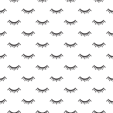 Seamless linear eyelashes black and white pattern. Vector