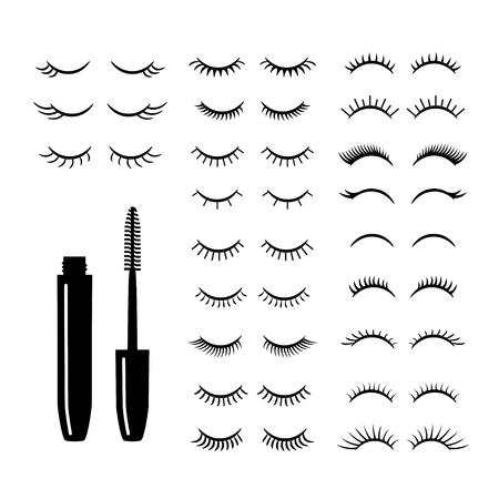 Eyelashes with mascara set. Vector