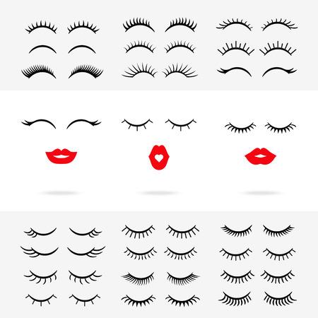 Set of lips with eyelashes. Vector 矢量图像