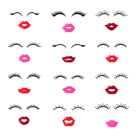Set of lips with eyelashes. Vector