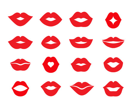Set of lips  different shapes red color. Flat Vector Illustration 矢量图像
