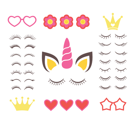 Set of eyelashes with hearts, crowns, flowers and glasses. Vector