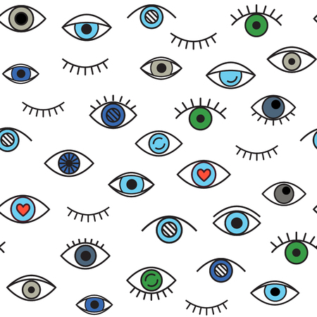 Seamless pattern with linear eyes . Vector