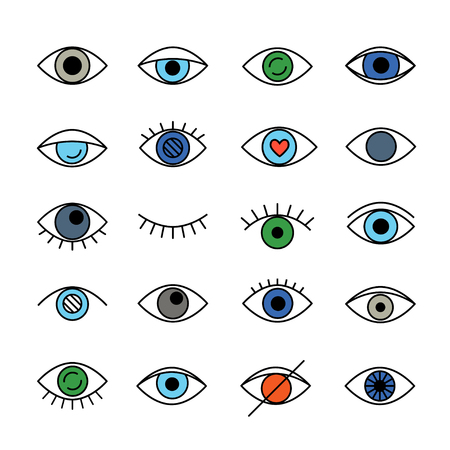 Set of linear eyes colored logo. Vector