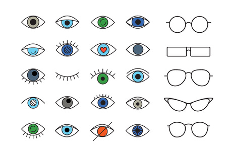 Set of linear colored eyes and eyes glasses . Vector