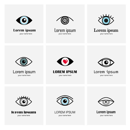 Vector set of linear eye icon . Vision symbol. Optical clinic logo template.
