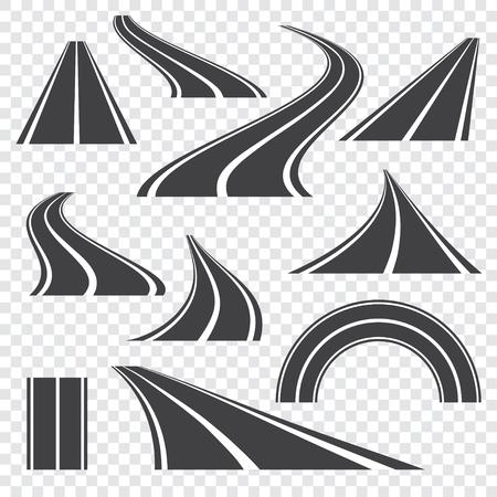 Illustration vectorielle de route asphaltée. Route de perspective incurvée avec marquages. Ensemble d'icônes.