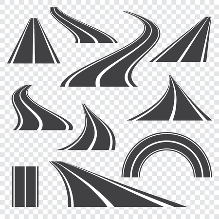 Ilustracja wektorowa drogi asfaltowej. Zakrzywiona perspektywa autostrada z oznaczeniami. Zestaw ikon.