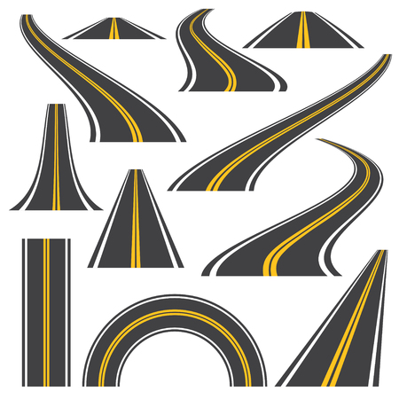 Asphalt road vector  illustration. Curved  perspective highway with markings. Set of 11 concept icons isolated on white. 矢量图像