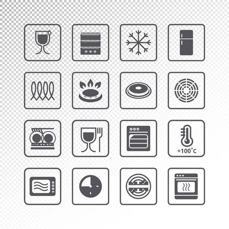 Icons of  indicate properties. Pictogram vector set
