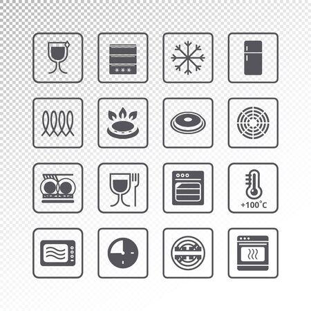 Symbole von zeigen Eigenschaften an. Piktogramm-Vektor-Set Vektorgrafik