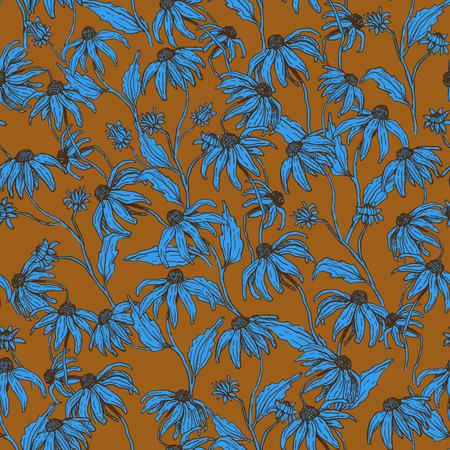 Vector seamless pattern with autumn flowers. Illustration