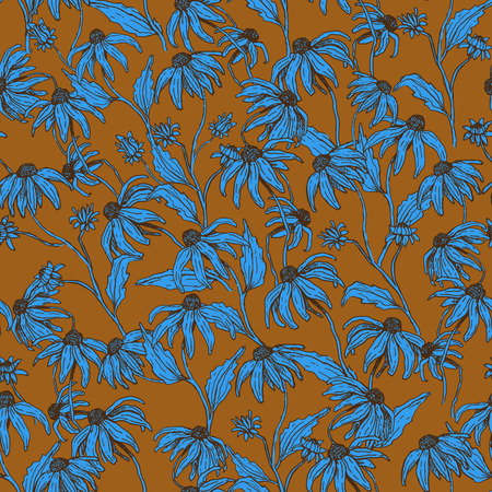 Vector seamless pattern with autumn flowers. 일러스트