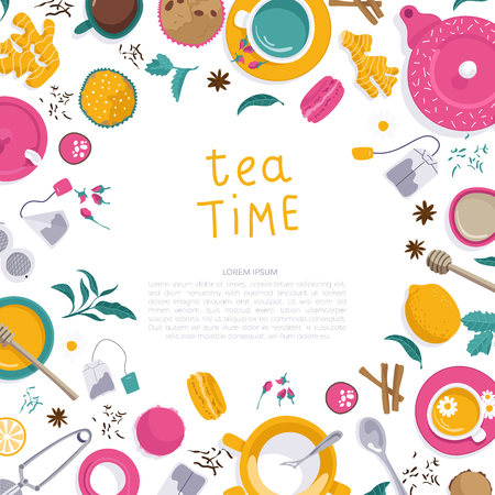 Vector illustrations. Frame for your design and business.. Set of tea accessories: cup, teapot, tea bag, tea tools, glass in flat style. Flat lays.