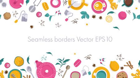 Vector illustrations. Seamless borders. Set of tea accessories: cup, teapot, tea bag, tea tools, glass in flat style. Flat lays.