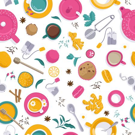 Vector illustrations. Seamles pattern. Set of tea accessories: cup, teapot, tea bag, tea tools, glass in flat style. Flat lays. Vettoriali