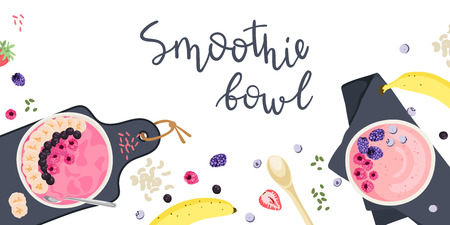 Vector Illustration. Healthy breakfast concept. Smoothie bowls with fresh berries, fruits, and nuts. Top view, flat lay.