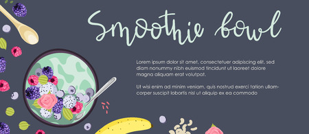 Banner design with vector illustrations. Healthy breakfast concept. Smoothie bowls with fresh berries, fruits, and nuts. Top view, flat lay.