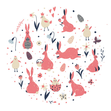Easter vector illustrations set with hand drawn elements for your design. Circle concept. Çizim
