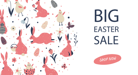 Banner design for easter sale with hand drawn elements.