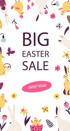 Banner design for easter sale with hand drawn elements.  Vector easter illustrations.