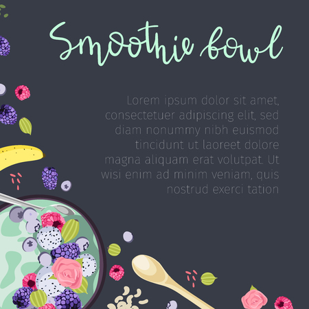 Social media banner design with vector illustrations. Healthy breakfast concept. Smoothie bowls with fresh berries, fruits, and nuts. Top view, flat lay.