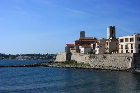 fortified: A fragment of an old fortified part of French city Antibes at day