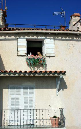 balcony door: Muy simple franc�s casa con puerta y balc�n cerrado anticuado persianas. Hay dos juguetes en la ventana: gato blanco y paloma.