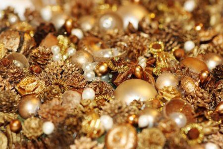 trumpery: Shining treasures for decoration of Christmas-tree. Shallow DOF Stock Photo