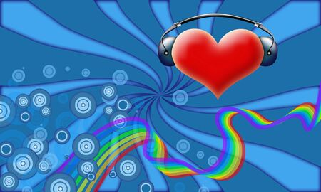 Valentines abstract of heart with headphones on retro background with rainbow photo