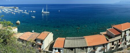 southern europe: Panoramic sea view from Scilla coast with typical calabrian s on the foreground