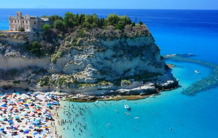 Scenic landscape with beach and Tropea peninsola photo