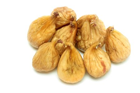 dainty: Dried figs isolated over white Stock Photo