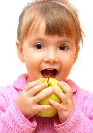 Lovely baby-girl eating green apple isolated over white Stock Photo - 3793485